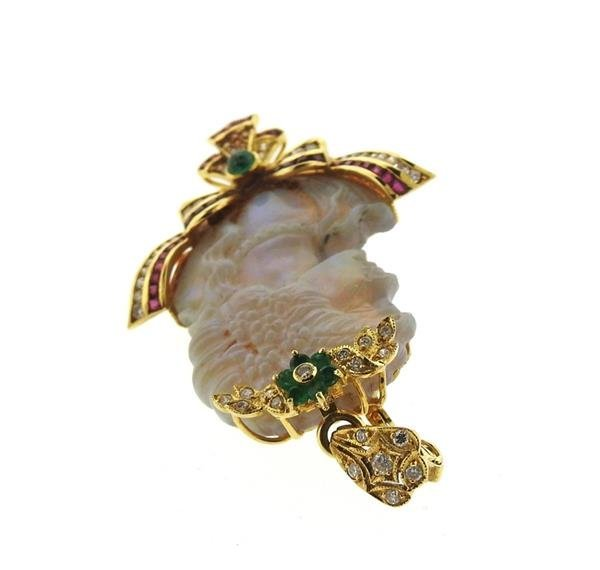 18k Gold Carved Opal Diamond Ruby Emerald Pendant - 3