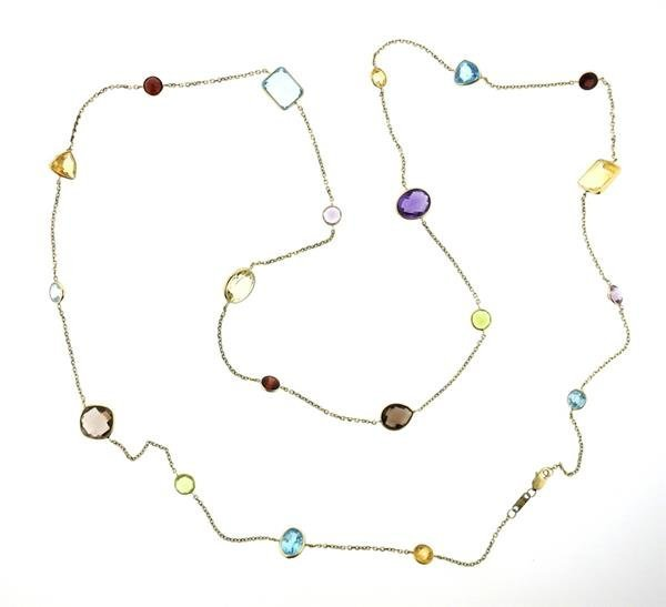 14k Gold Multi Color Gemstone Station Long Necklace