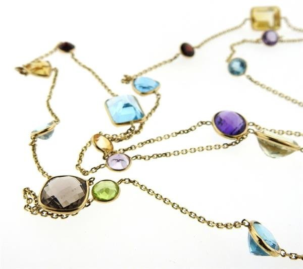 14k Gold Multi Color Gemstone Station Long Necklace - 2