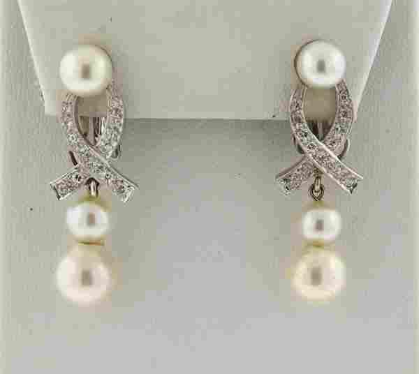 1950s 14k Gold Diamond Pearl Drop Earrings