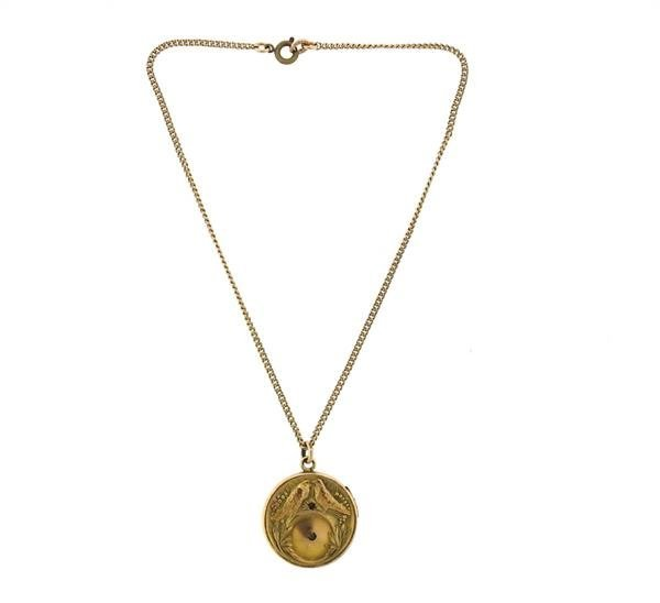 Antique Gold Locket Pendant Necklace