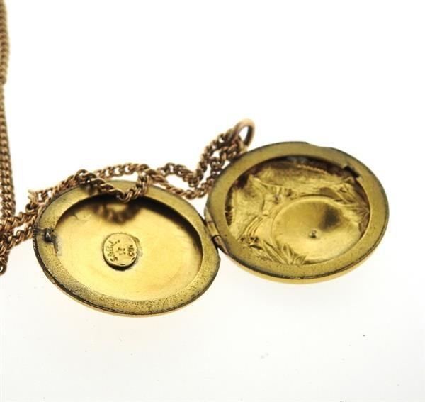 Antique Gold Locket Pendant Necklace - 5