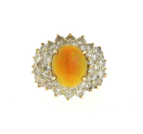 18k Gold 2.89ct Ethiopian Opal 6.25ctw Diamond Ring