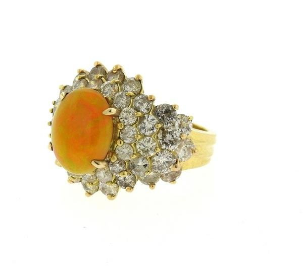 18k Gold 2.89ct Ethiopian Opal 6.25ctw Diamond Ring - 3