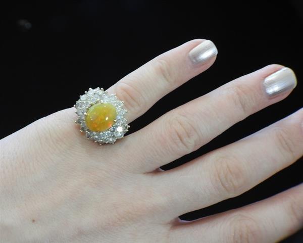 18k Gold 2.89ct Ethiopian Opal 6.25ctw Diamond Ring - 6
