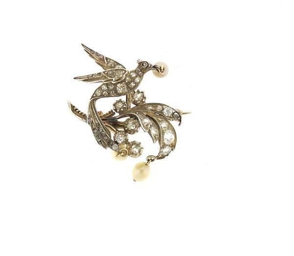 Antique Gold Silver Diamond Pearl Bird Brooch Pin