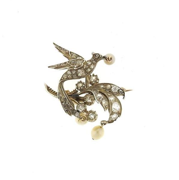 Antique Gold Silver Diamond Pearl Bird Brooch Pin - 2