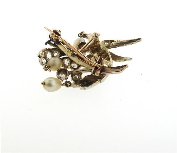 Antique Gold Silver Diamond Pearl Bird Brooch Pin - 5