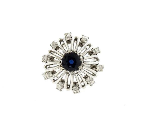 Platinum Diamond 1.24ct Sapphire Dome Ring