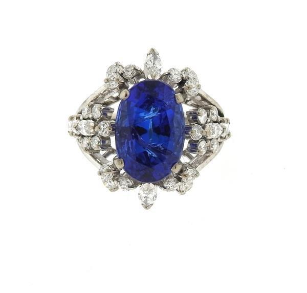 18k Gold 6.50ct Sapphire Diamond Ring