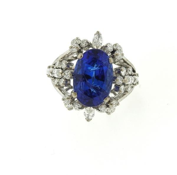 18k Gold 6.50ct Sapphire Diamond Ring - 2