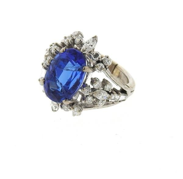18k Gold 6.50ct Sapphire Diamond Ring - 3