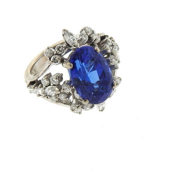 18k Gold 6.50ct Sapphire Diamond Ring - 4