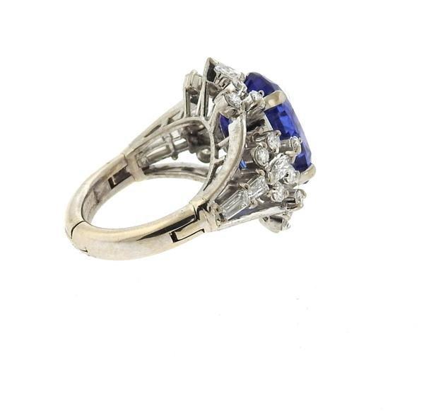 18k Gold 6.50ct Sapphire Diamond Ring - 5