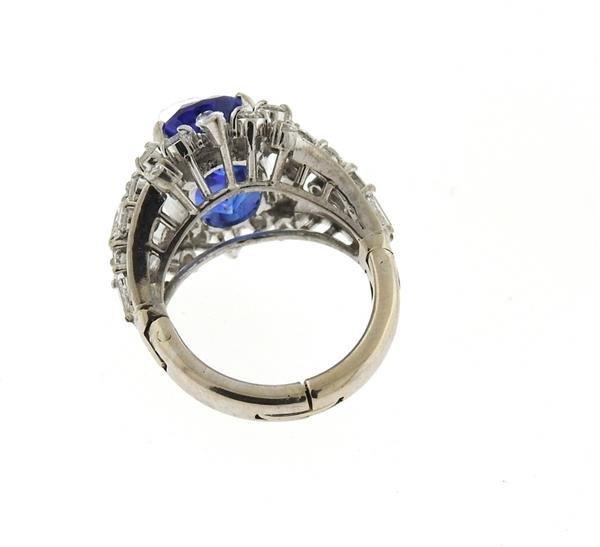 18k Gold 6.50ct Sapphire Diamond Ring - 6