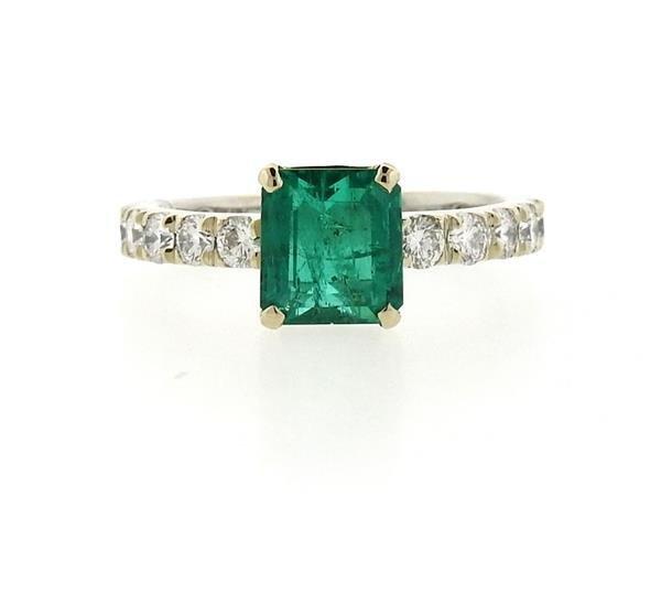18k Gold 1.59ct Emerald Diamond Engagement Ring