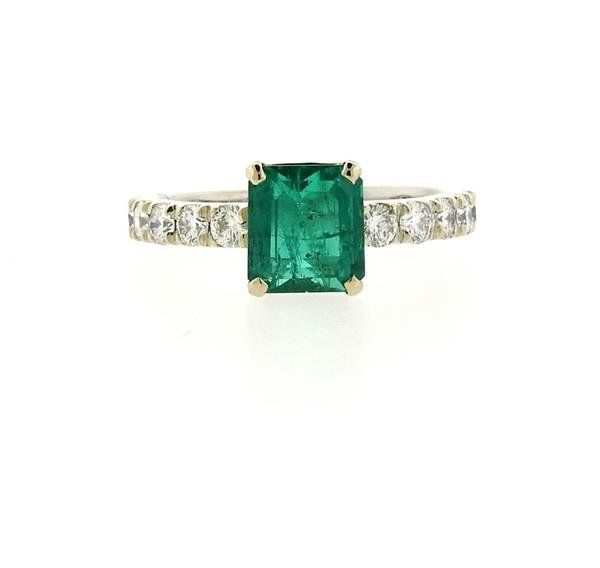18k Gold 1.59ct Emerald Diamond Engagement Ring - 2