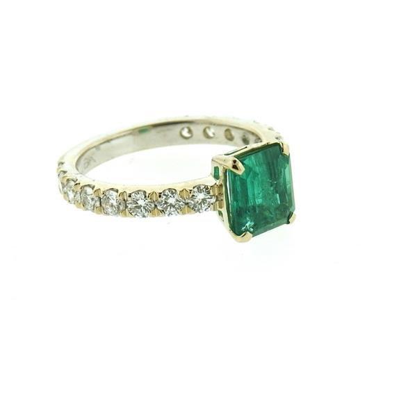 18k Gold 1.59ct Emerald Diamond Engagement Ring - 3