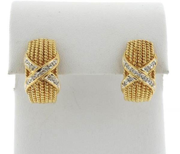 14k Gold Diamond X Half Hoop Earrings