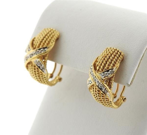 14k Gold Diamond X Half Hoop Earrings - 2