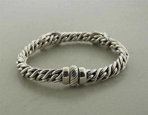 David Yurman Sterling Silver Diamond X Wheat Chain - 3