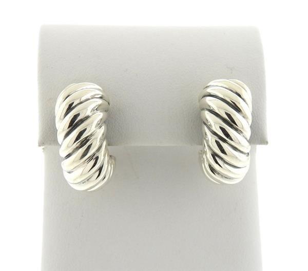 David Yurman Sterling  Waverly Half Hoop Earrings