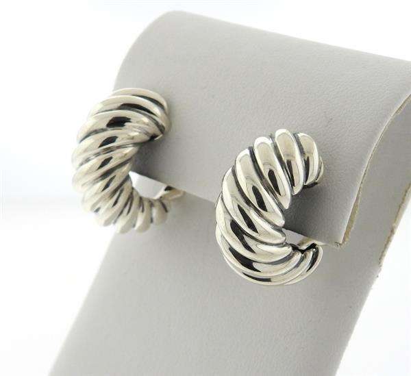 David Yurman Sterling  Waverly Half Hoop Earrings - 2