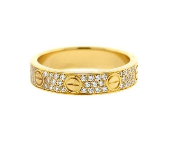 Cartier Love 18k Gold Diamond Wedding Band Ring
