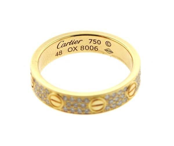 Cartier Love 18k Gold Diamond Wedding Band Ring - 2