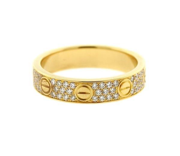 Cartier Love 18k Gold Diamond Wedding Band Ring - 3