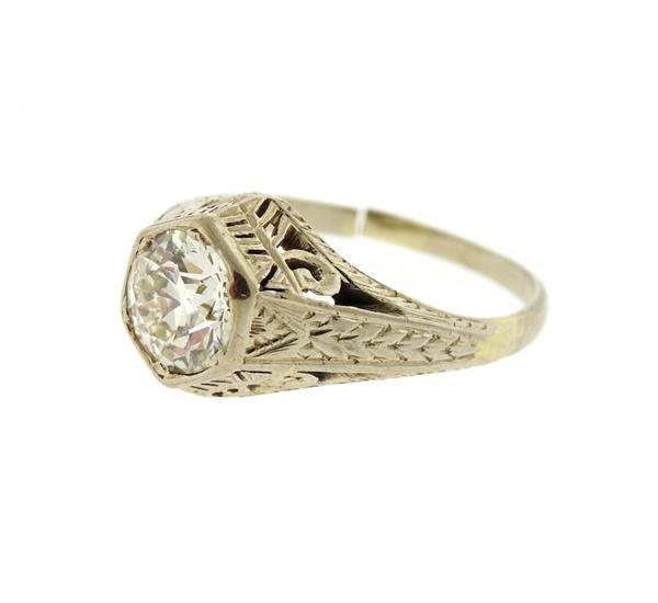Art Deco 18K Gold Diamond Ring - 2