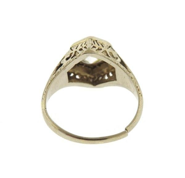 Art Deco 18K Gold Diamond Ring - 3