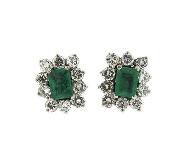 18k Gold Emerald Diamond Stud Earrings