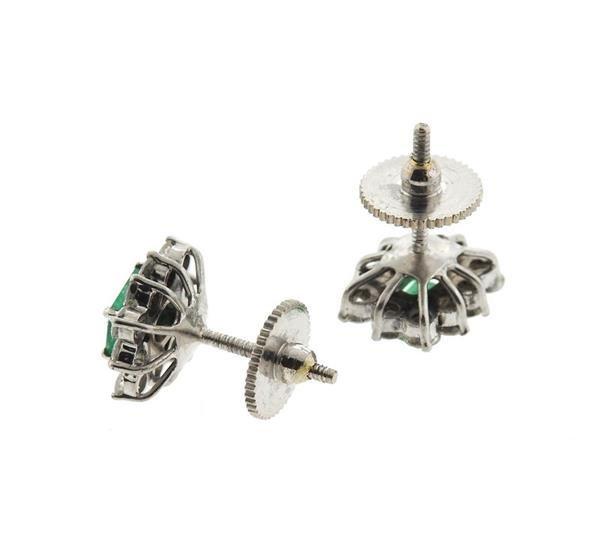 18k Gold Emerald Diamond Stud Earrings - 3
