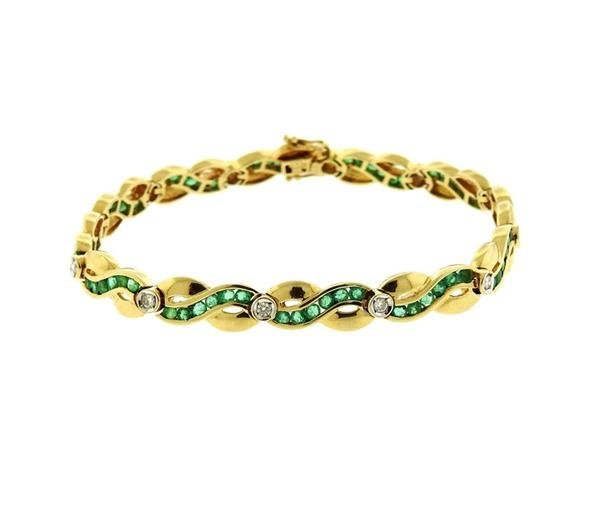 14k Gold Diamond Green Stone Bracelet
