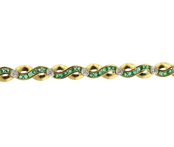 14k Gold Diamond Green Stone Bracelet - 2