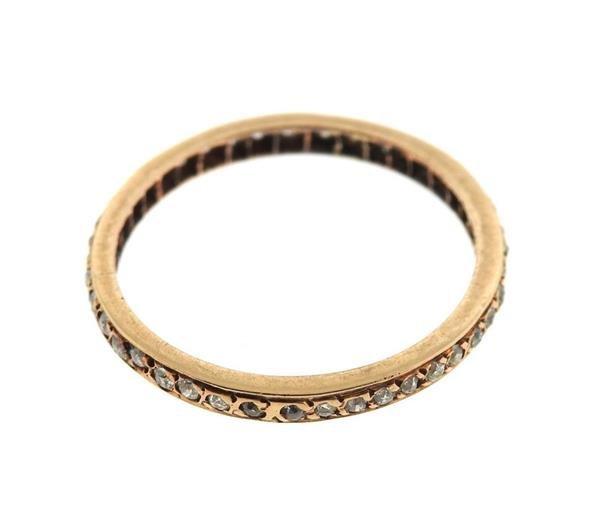 14k Gold Diamond Eternity Wedding Band Ring - 2