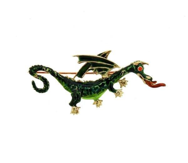 14K Gold Enamel Dragon Brooch Pin
