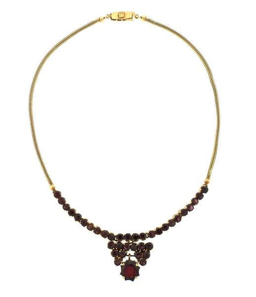18K Gold Red Purple Stone Necklace