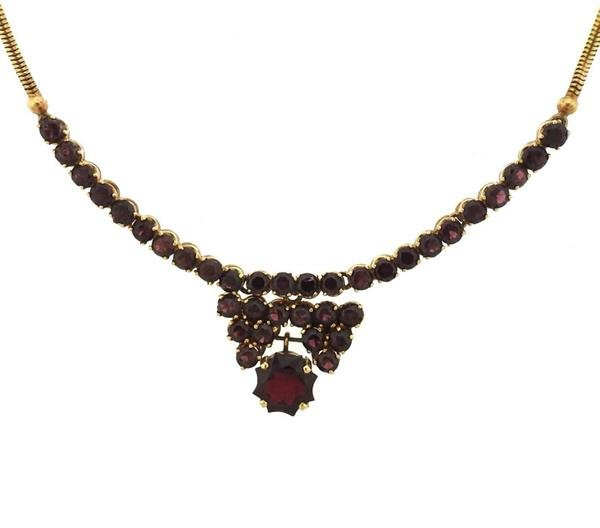 18K Gold Red Purple Stone Necklace - 2