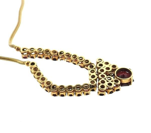 18K Gold Red Purple Stone Necklace - 3