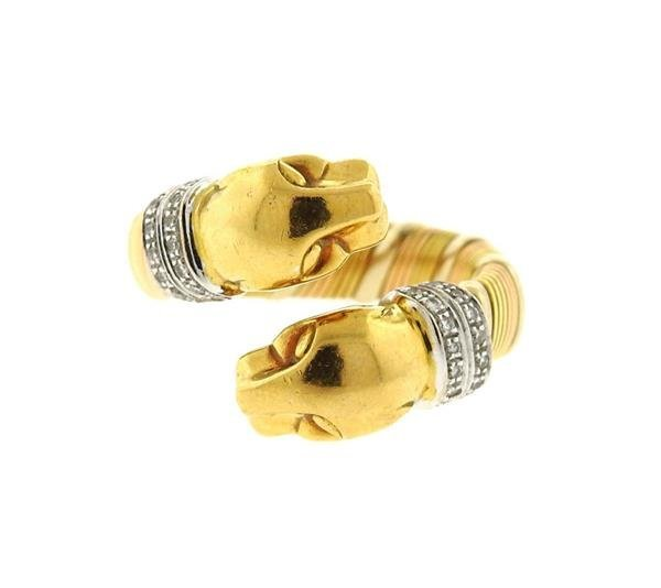 Cartier Panthere 18k Gold Diamond Bypass Ring