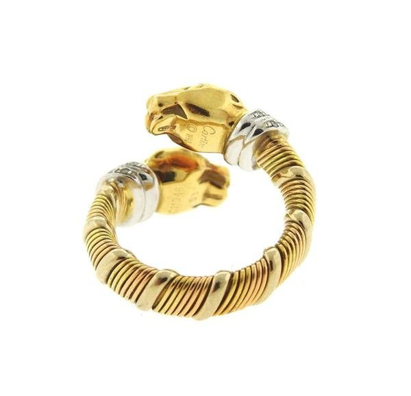 Cartier Panthere 18k Gold Diamond Bypass Ring - 3