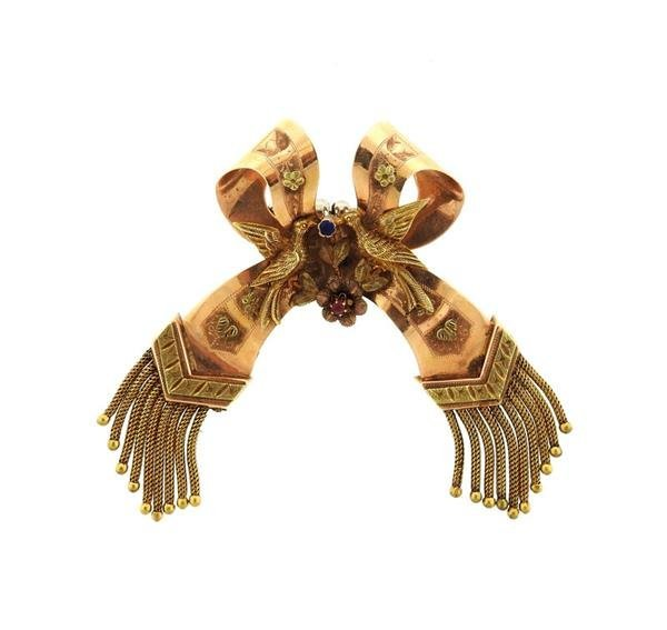 Antique 14k Gold Bow Tassel Brooch Pin