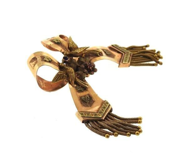 Antique 14k Gold Bow Tassel Brooch Pin - 2