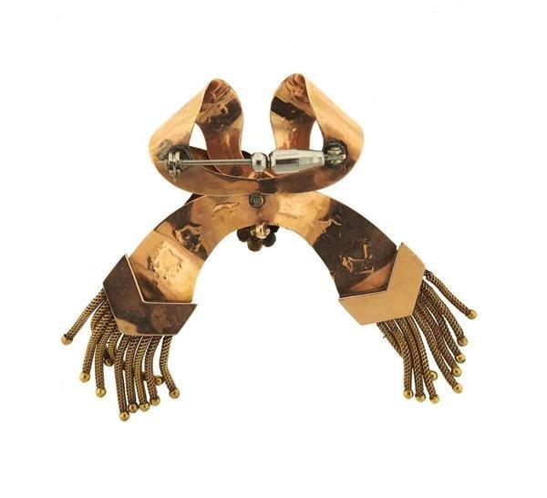 Antique 14k Gold Bow Tassel Brooch Pin - 3
