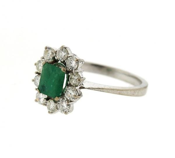 18K Gold Diamond Emerald Ring - 2