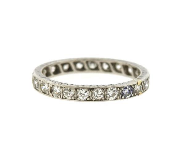 Art Deco Platinum Diamond Eternity Wedding Band Ring