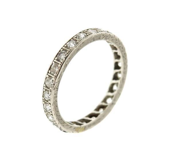 Art Deco Platinum Diamond Eternity Wedding Band Ring - 3