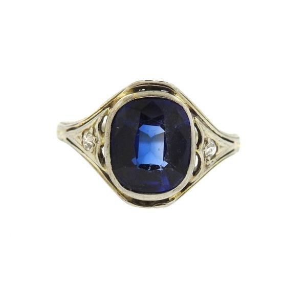 Art Deco 18k Gold Blue Stone Ring